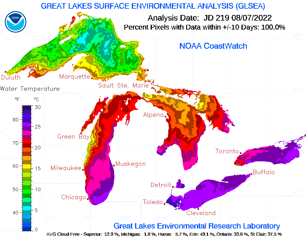 Great Lakes Ice Cover/Water TempsIce Cover