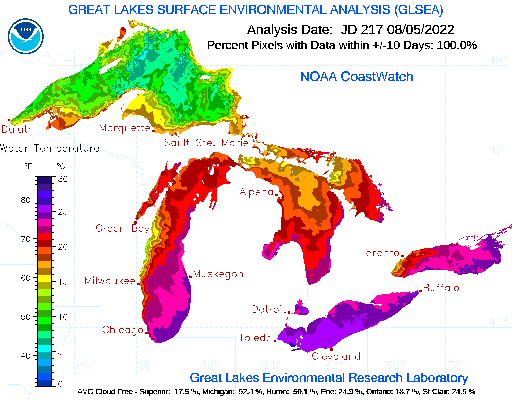 Click for a Great Lakes basin-wide map summary of current conditions